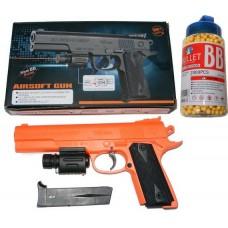 399A Spring Powered 25cm Orange + Black Plastic BB Gun Pistol & 2000 Pellets