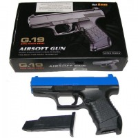 Galaxy G19 Blue Spring Powered Metal BB Gun Pistol 250 FPS