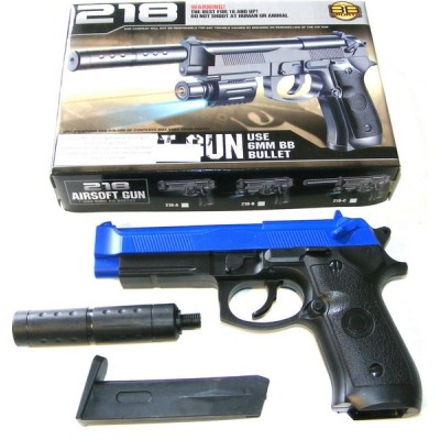 BB Sports 218 Spring Powered Blue Plastic BB Gun Pistol With Silencer (M92 Replica)