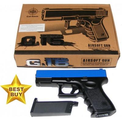 Galaxy G15 Spring Powered Blue Metal BB Gun Pistol (Glock Replica)