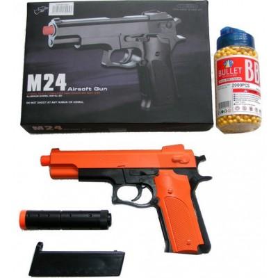 Double Eagle M24 Spring Powered Orange Plastic BB Gun Pistol With Silencer & 2000 Pellets