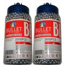 2 Tubs of 2000 Silver 0.15g Plastic 6mm BB Gun Pellets (4000 Pellets)