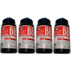 4 Tubs of 2000 Black 0.15g Plastic 6mm BB Gun Pellets (8000 Pellets)