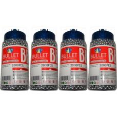 4 Tubs of 2000 Silver 0.15g Plastic 6mm BB Gun Pellets (8000 Pellets)
