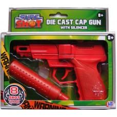 Sure Shot Red Die Cast Metal 8 Shot Cap Gun with Plastic Silencer