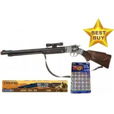 Gonher 8 Shot Western Style Plastic Cap Gun Rifle with Metal Firing Mechanism & 160 Caps